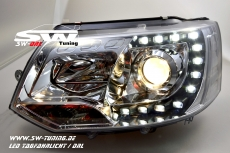 SW-DRL headlights VW T5 Facelift GP type 7H 09-14 LED daytime running R87 chrome