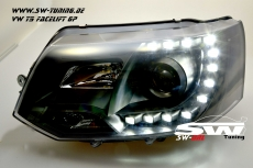 SW-DRL headlights VW T5 Facelift GP type 7H 09-14 LED daytime running R87 black