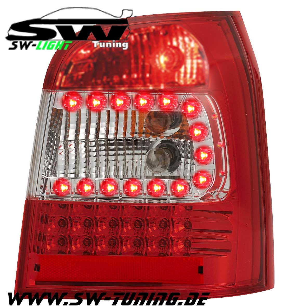 Sw light led taillights audi a4 b5 avant stationwagon 95 01 red crystal