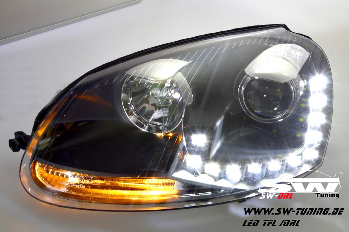 SW-DRL headlights for VW Golf V 03-09 LED DRL R87 black