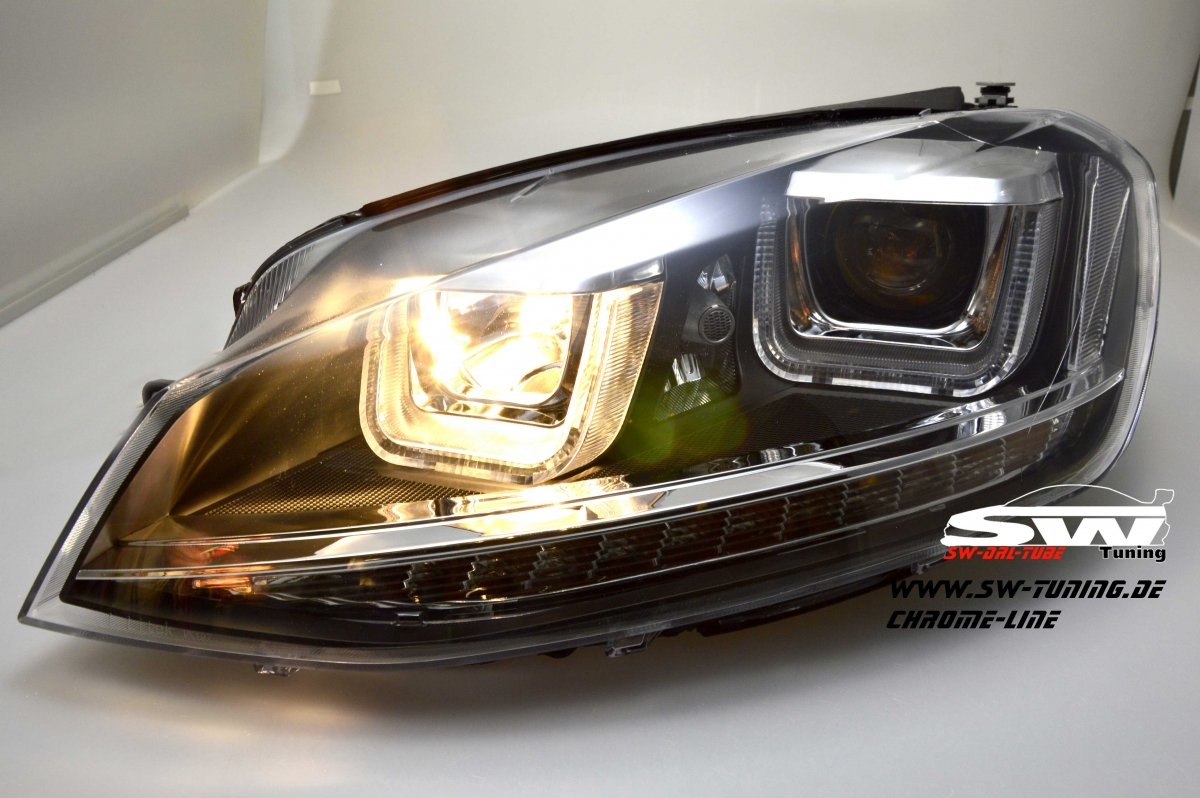 sw drltube headlights vw golf vii 12 15 black with u led drl r87 chrome line tuning online kaufen. Black Bedroom Furniture Sets. Home Design Ideas