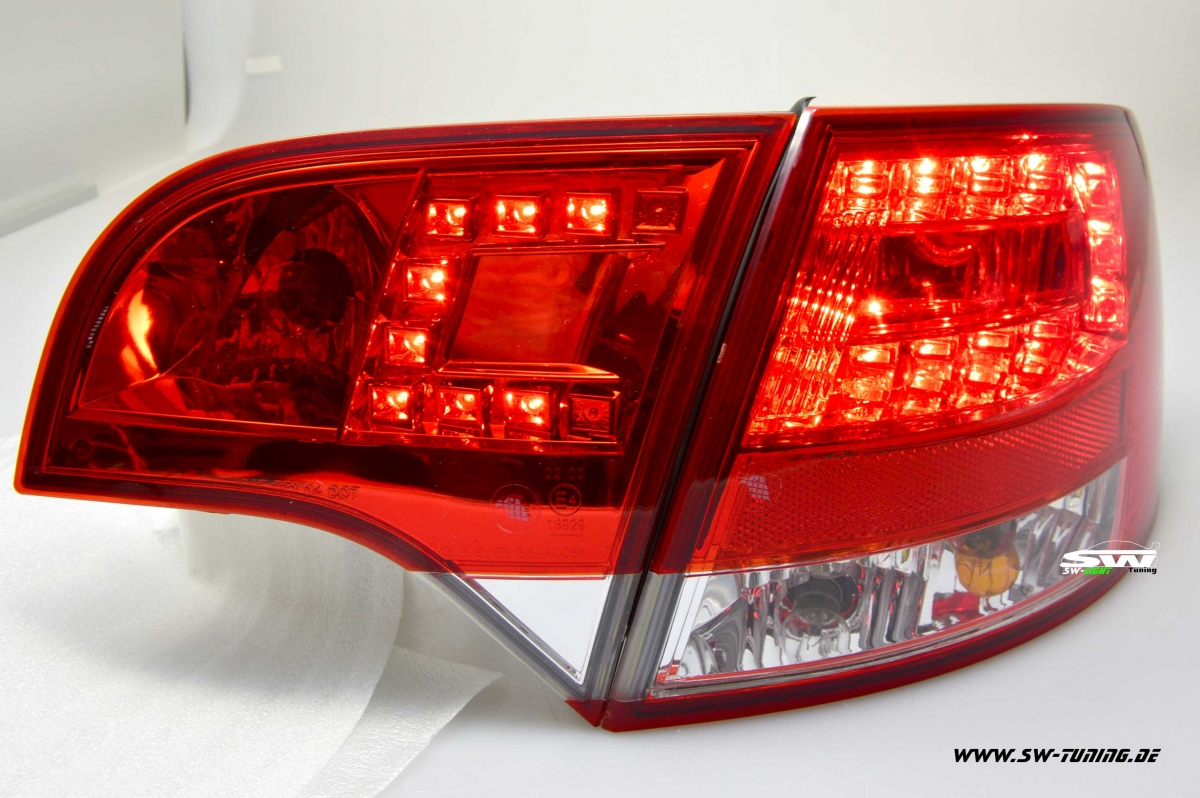 Sw Light Led Taillights For Audi A4 B7 Avant 04 08 Red Crystal